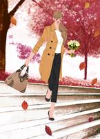 コートを着て花束を持ち階段を下りる女性