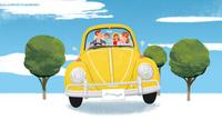 車に乗って遊びに出かける家族