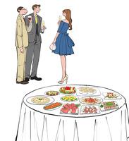 立食パーティでワインを飲み話すドレスの女性とスーツの男性