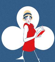 帽子をかぶり本を読むモダンガール風の女性