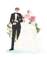 腕を組む結婚式の新郎新婦