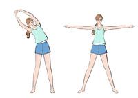 腕を広げストレッチの体操をする女性