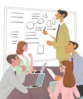 会社で打ち合わせをする男性社員と女性社員