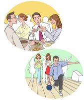 飲み会やレクレーションをする会社員の男性と女性