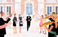 結婚披露宴のあとみんなに祝福される新郎新婦