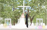 森の教会で結婚式をあげるカップル 10402000538| 写真素材・ストックフォト・画像・イラスト素材|アマナイメージズ