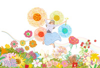 春の高原でたくさんの花に囲まれてジャンプする女性