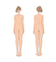 正面と後ろから見た女性のヌード 10402000543| 写真素材・ストックフォト・画像・イラスト素材|アマナイメージズ