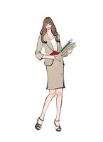 書類を抱えメモ帳を持つ働く女性 10402000550| 写真素材・ストックフォト・画像・イラスト素材|アマナイメージズ