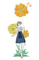 花を持つ女性 10402000551| 写真素材・ストックフォト・画像・イラスト素材|アマナイメージズ