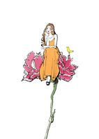 花に腰掛けるワンピースの女性 10402000552| 写真素材・ストックフォト・画像・イラスト素材|アマナイメージズ