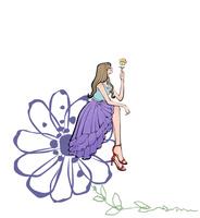花に腰掛ける女性 10402000553| 写真素材・ストックフォト・画像・イラスト素材|アマナイメージズ