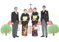 結婚式で正装した新郎新婦の両親 10402000554| 写真素材・ストックフォト・画像・イラスト素材|アマナイメージズ