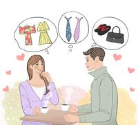 洋服や着物やネクタイ、バッグや履物のことを相談するカップル 10402000555| 写真素材・ストックフォト・画像・イラスト素材|アマナイメージズ