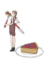 ナイフとフォークでケーキを食べるワンピースの女性 10402000562| 写真素材・ストックフォト・画像・イラスト素材|アマナイメージズ