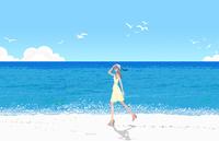 夏の海岸を歩くワンピースの女性 10402000564| 写真素材・ストックフォト・画像・イラスト素材|アマナイメージズ