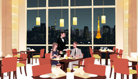 夜景の見えるレストランで食事するカップルとウエイター 10402000565| 写真素材・ストックフォト・画像・イラスト素材|アマナイメージズ