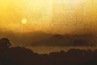 金屏風と日の出(フォトイラスト)