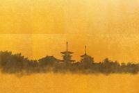 金屏風と薬師寺(フォトイラスト)