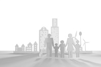 ペーパークラフト風の家族 10404010110  写真素材・ストックフォト・画像・イラスト素材 アマナイメージズ