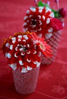 赤い古絹和布の上の赤柄器のアレンジ 10405000052| 写真素材・ストックフォト・画像・イラスト素材|アマナイメージズ