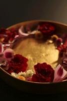 黒い紙と和紙の下ラインを背景に金の丸い器に花と水引 10405000458| 写真素材・ストックフォト・画像・イラスト素材|アマナイメージズ
