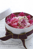 リボンをかけた缶にピンクのアーティフィシャルフラワーのアレンジ 10405000793| 写真素材・ストックフォト・画像・イラスト素材|アマナイメージズ