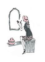 鏡の前で化粧する帽子を被った女性 10416000049  写真素材・ストックフォト・画像・イラスト素材 アマナイメージズ