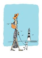 海辺を歩く犬を連れた女性
