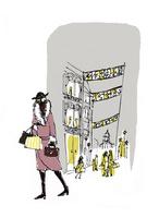 イルミネーションの街をショッピングする女性 10416000056| 写真素材・ストックフォト・画像・イラスト素材|アマナイメージズ