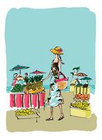 南国ビーチの果物市場(背景色あり)