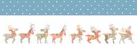 雪のクリスマス サンタクロースを待つ8頭のトナカイたち