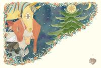 星月夜 クリスマスに動物たちも祈る ヤドリギに囲まれて