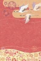 梅の花漂う空と瑞雲に飛ぶ鶴