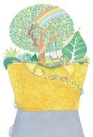 黄色いバッグの森に住む蛇 黄金の実を食べ虹を架ける