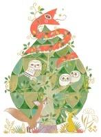 緑の樹に住む赤い蛇とフクロウの親子と狐と兎