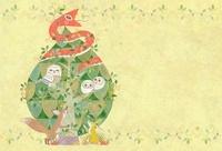 緑の樹に住む赤い蛇とフクロウの親子と狐と兎 背景付