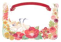 1月をイメージした花と鶴とりぼんの飾り