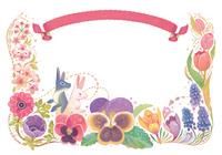 4月(春)をイメージした花とウサギとリボンの飾り