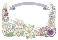 12月(冬)をイメージした花とフクロウとリボンの飾り