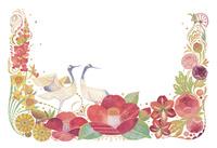 1月をイメージした花と鶴の飾り