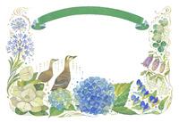 6月をイメージした花とカルガモとリボンの飾り