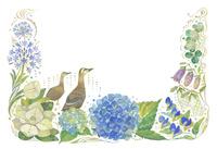 6月をイメージした花とカルガモの飾り