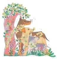 樹の下で待つ3頭の犬