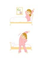 若い女性の朝 起床 ストレッチ