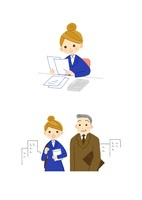 書類を見るOL 女性社員と上司