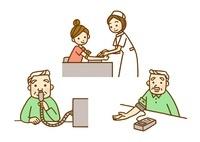 注射、吸引、血圧測定