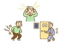 高齢者・頭痛と腰痛と頻尿 10420000026| 写真素材・ストックフォト・画像・イラスト素材|アマナイメージズ