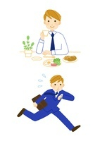 サラリーマン・朝食と通勤 10420000031| 写真素材・ストックフォト・画像・イラスト素材|アマナイメージズ