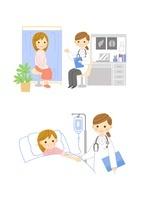 婦人科受診 入院患者と女医さん 10420000035| 写真素材・ストックフォト・画像・イラスト素材|アマナイメージズ